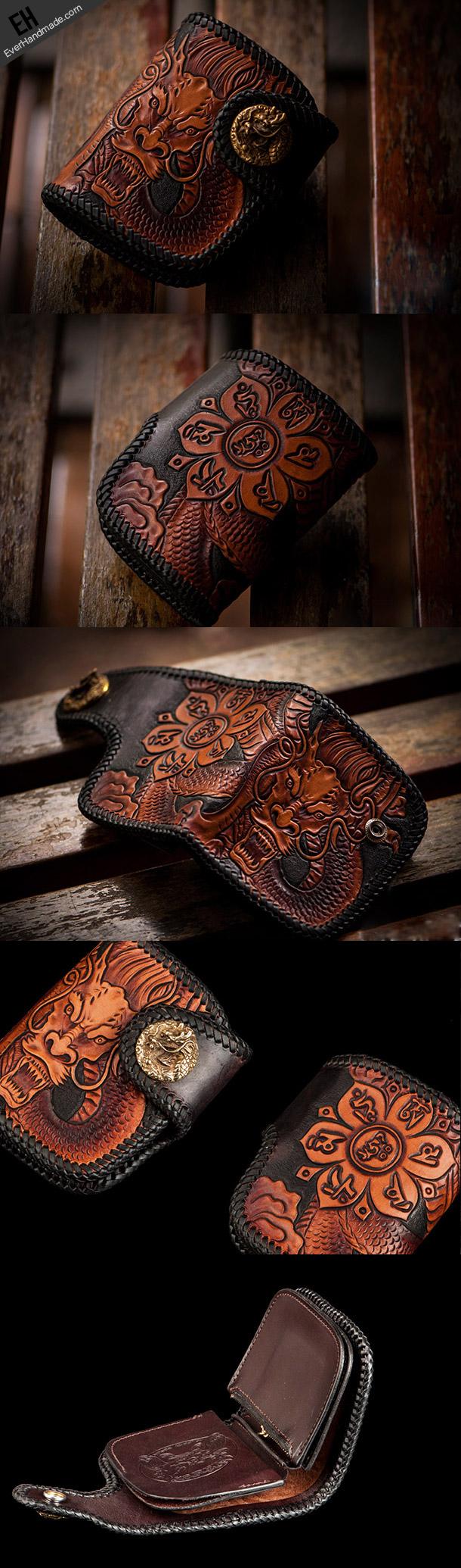 Handmade biker wallet chinese dragon brown black leather carved trucke | EverHandmade