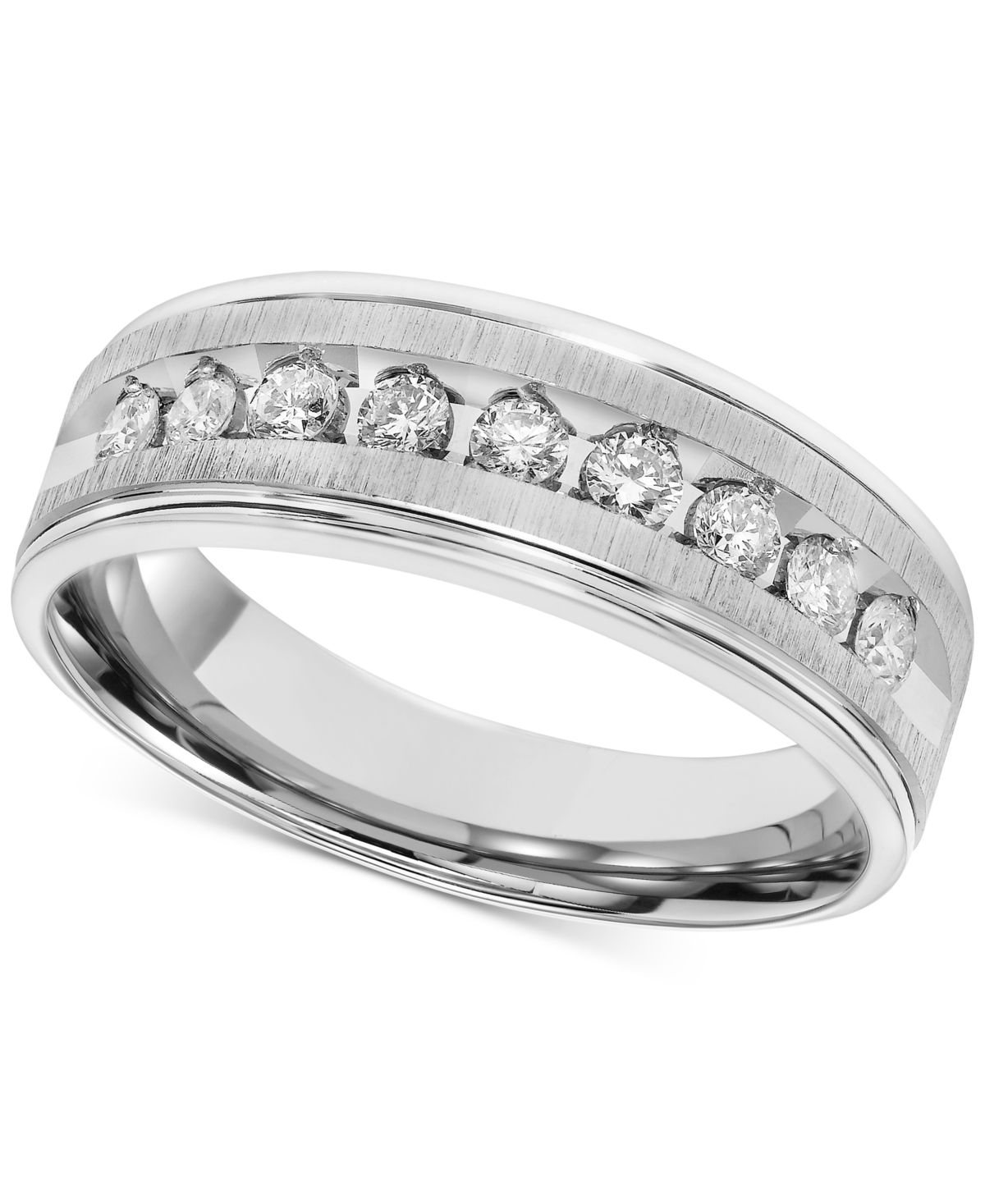 Men S Diamond Brushed Band 1 2 Ct T W In 14k White Gold