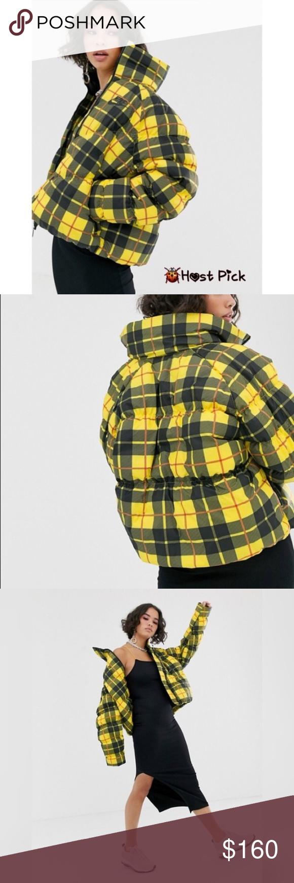 Nike Yellow High Neck Padded Jacket Snazzy Plaid Over A Soft Taffeta Shell Energizes A Warm Yet Lightwei Plaid Jacket Vintage Nike Windbreaker Nike Rain Jacket [ 1740 x 580 Pixel ]