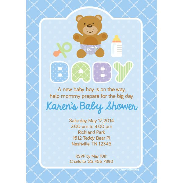 b9521716763 Teddy Baby Blue Baby Shower Custom Invitation