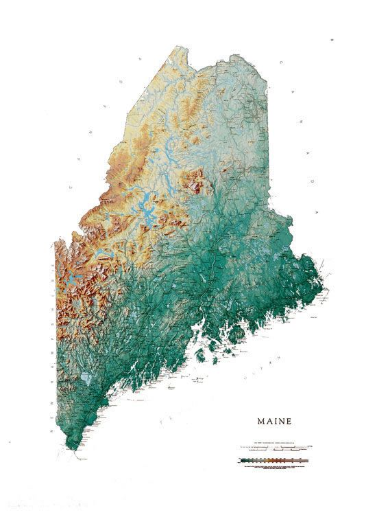 Maine Wall Map A Spectacular Physical Map of Maine Graphics