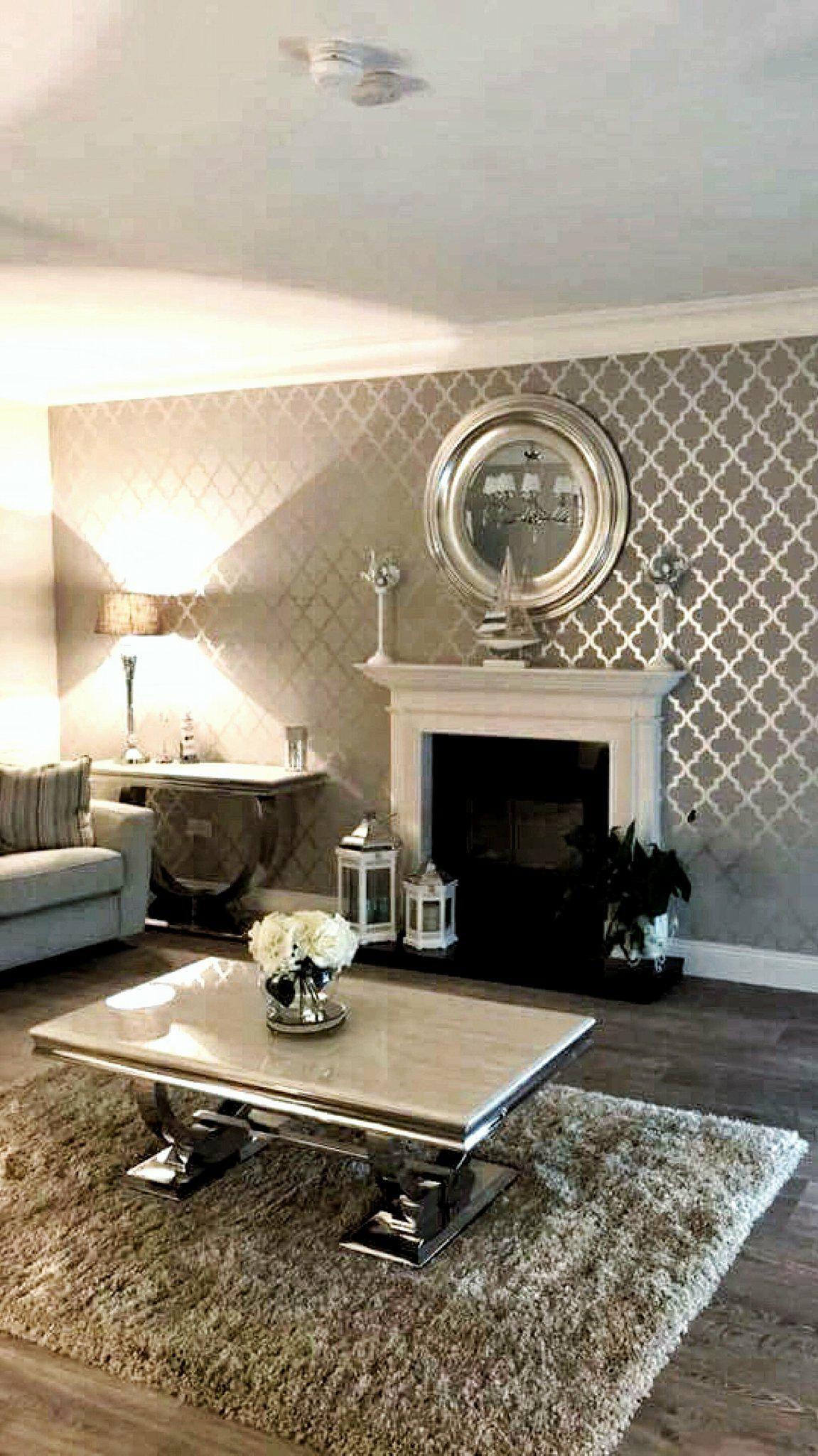 Camden Trellis Wallpaper Soft Grey Silver Feature Wall Li