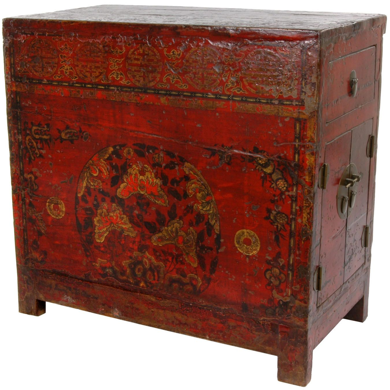 Antique Chinese Hand Painted Red Lacquer End Table   OrientalFurniture.com