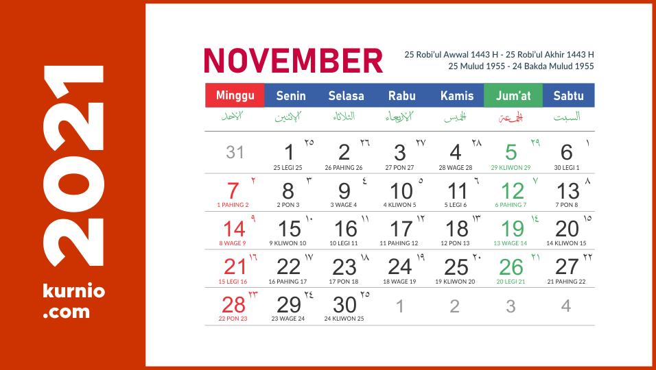 Kalender November 2021 Kalender Indonesia Muharram