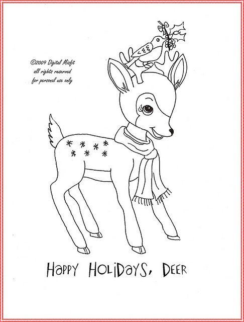 FREE holiday deer embroidery pattern | Bordado, Molde y Dibujo