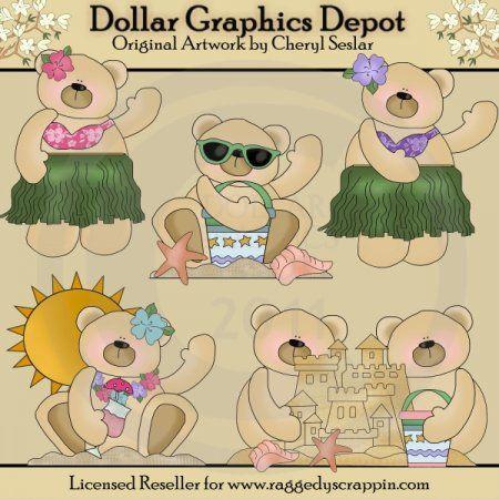 Aloha Bears - Clip Art