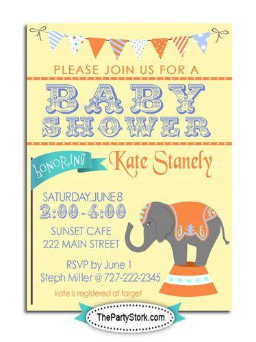 Custom Circus Baby Shower Theme Invitations Diy Printable Baby