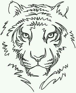 Tigre Noir Et Blanc Simple Dessin Pochoirs Tatouage Et