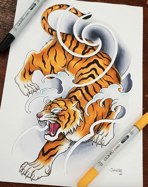 Neo-japanese style tiger tattoo design. Piece done by ...
