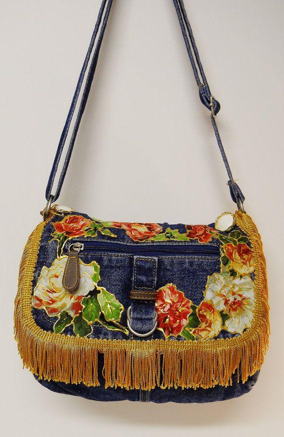 50% OFF Denim Handbag With Custom Floral Fabric Applique Designs and Gold Fringe