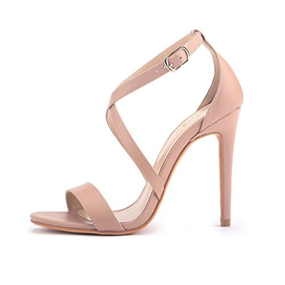 e74344d70 ZriEy Women Stiletto Sandals Cross Strappy High Heels 11CM Open Toe Bridal  Wedding Party Shoes Nude
