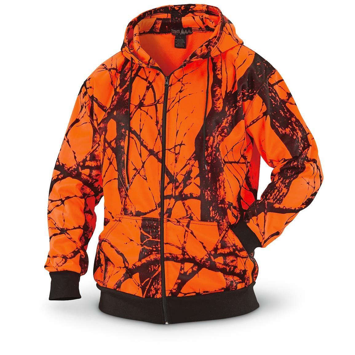 cb67e5030e8cf WFS Heavy Fleece Blaze Orange Camo Hooded Sweatshirt | Women Hunting ...
