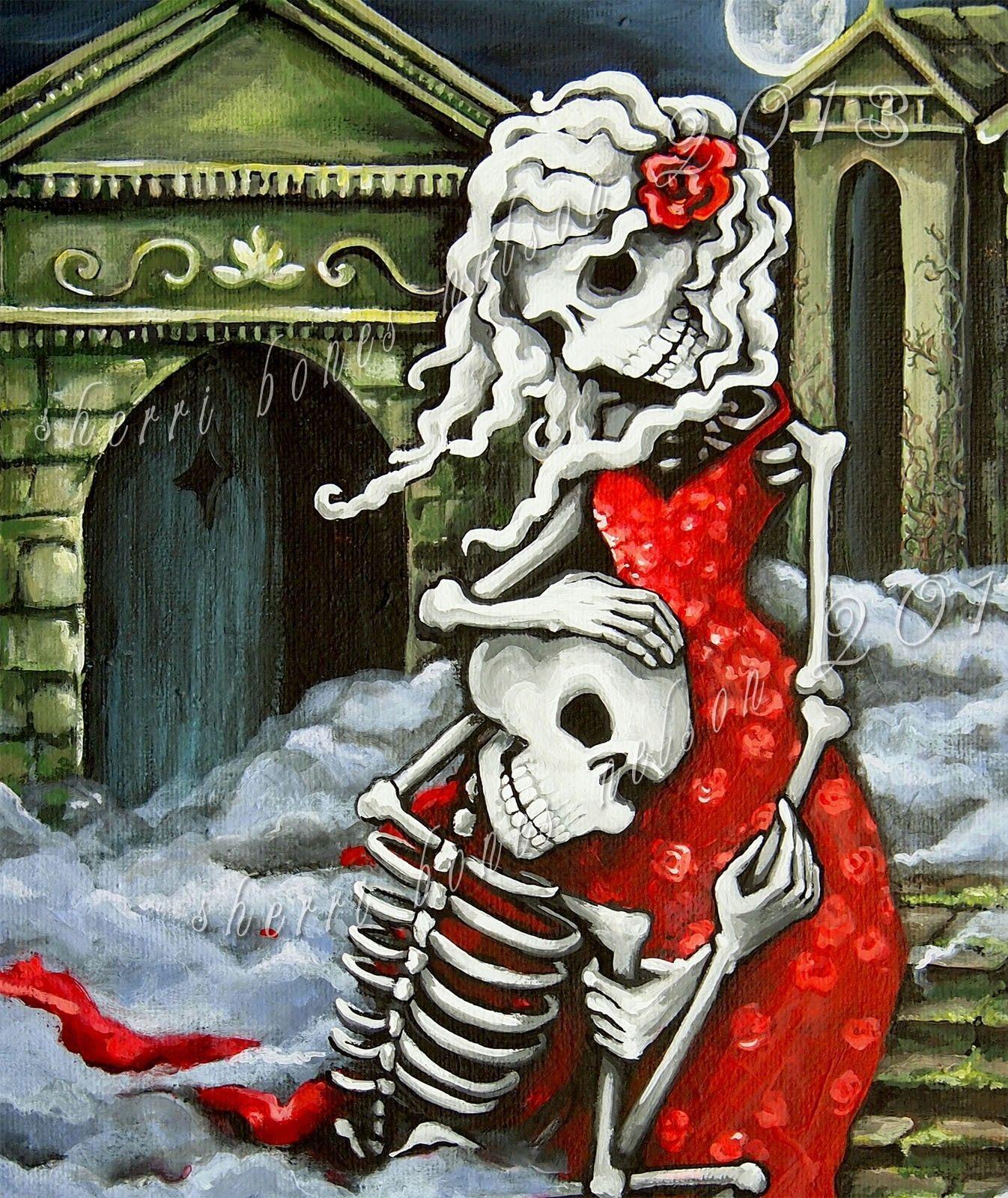 Gothic Romance Art Print Skeleton Catrina Wedding Day Of The Dead Giclee