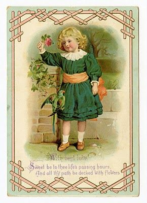 Vintage Download Image - Sweet Girl with Parrot - The Graphics Fairy