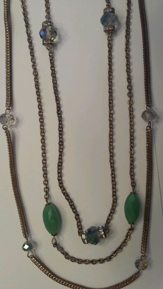 3 Strand Chain Long Necklace with Green Crystal Beads antique look NWOT NEW #Chain