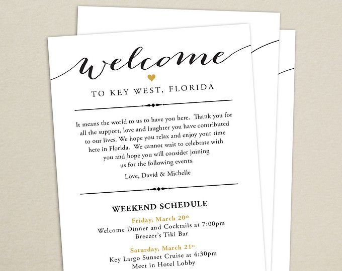 Itinerary Cards For Wedding Hotel Welcome Bag Printed Schedule Destination Card Thank You Weekend