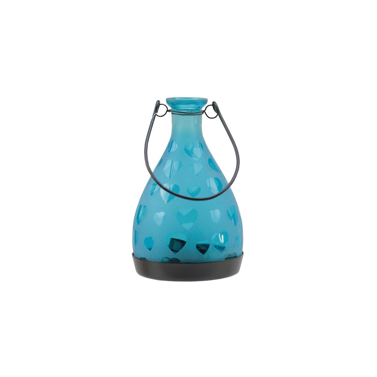 """6.25"""" Frosted Hearts Bottle Tea Light Candle Lantern Decoration"""