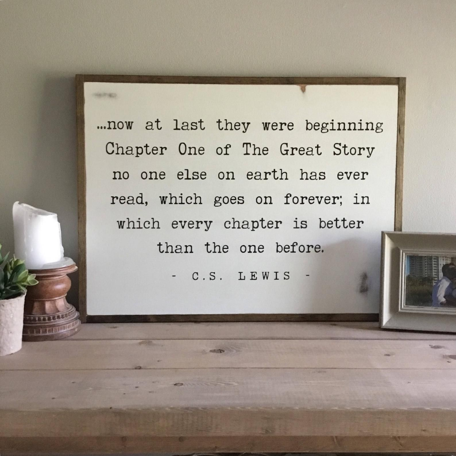 The Great Story Sign 18x24 C S Lewis Quote Etsy In 2020 Shabby Chic Wall Decor Bedroom Shabby Chic Wall Decor Shabby Chic Decor