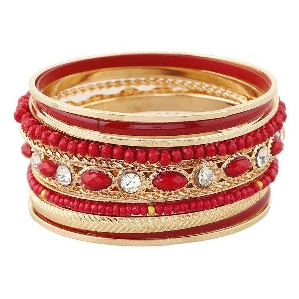 Rhinestone Beaded Layered Bracelets (£3.86) ❤ liked on Polyvore featuring jewelry, bracelets, beads jewellery, layered jewelry, beaded jewelry, rhinestone jewelry and rhinestone bangles