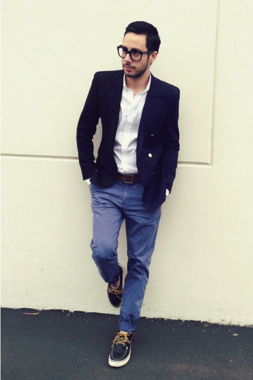 Blue Chinos, Navy Leather Boat Shoes