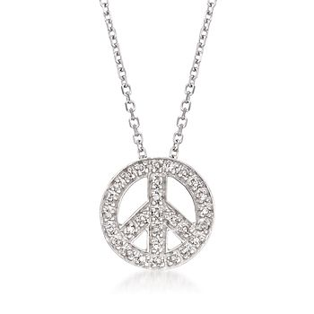 .10 ct. t.w. Diamond Peace Sign Necklace in 14kt White Gold
