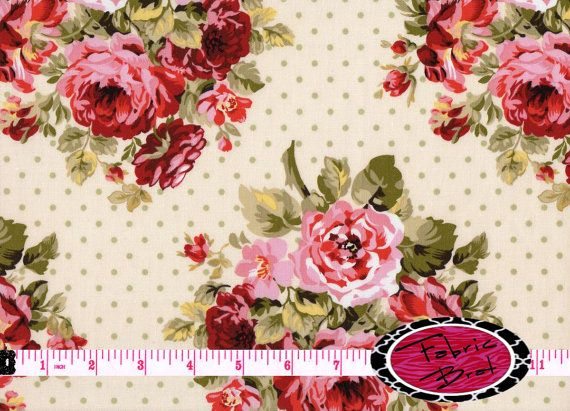 SHABBY ROSE Fabric By The Yard Half Or Fat Quarter Pink Cream Floral Rose