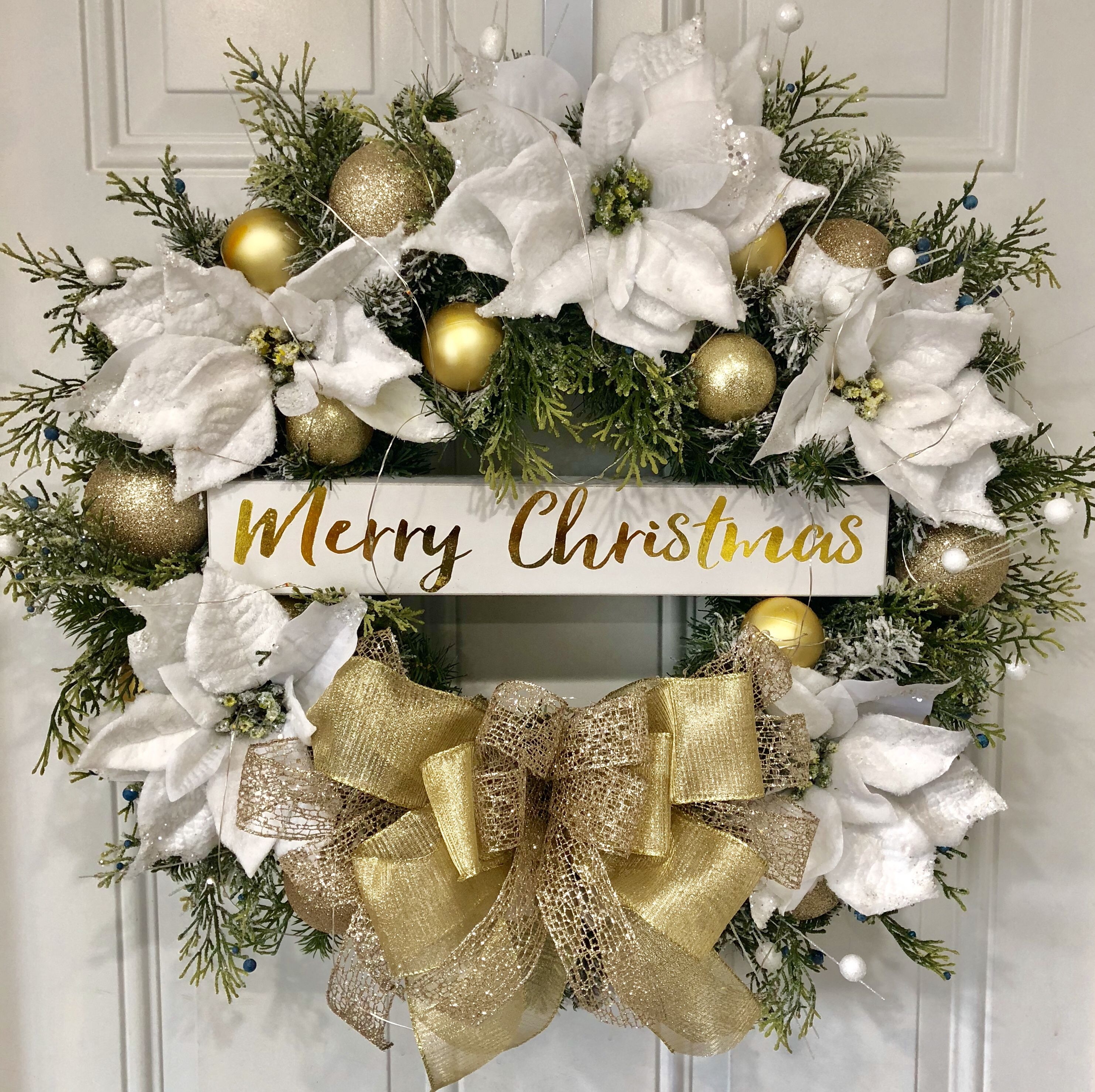 10+ Gold christmas wreath for front door ideas
