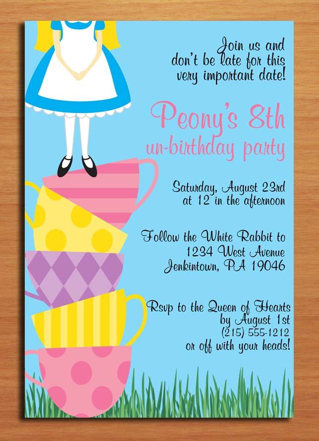 Alice in Wonderland / Teacup Tower UnBirthday Party Invitation Cards ...