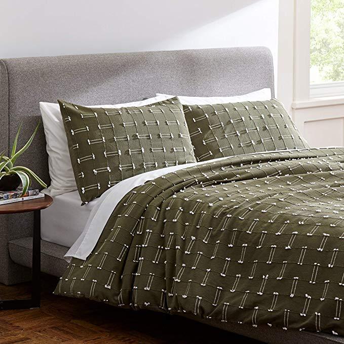 Amazon Com Rivet Global Textured 100 Cotton Duvet Cover Set