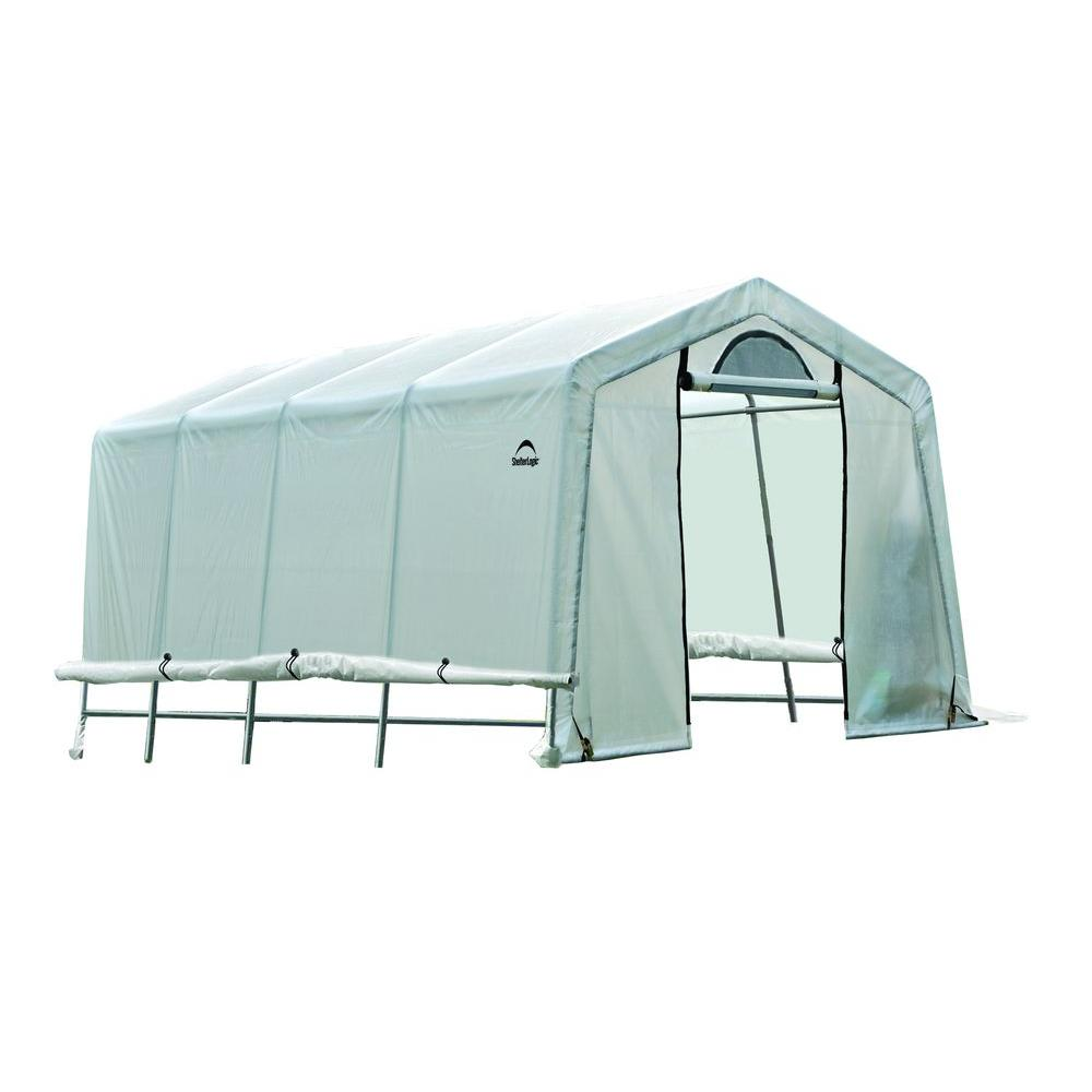 Shelterlogic 20 Ft D X 10 Ft W X 8 Ft H Growit Peak Style Greenhouse In A Box With Patent Pending Stabilizers 70658 The Home Depot Aquaponics Diy Growit Greenhouse Kit Growit backyard greenhouse reviews