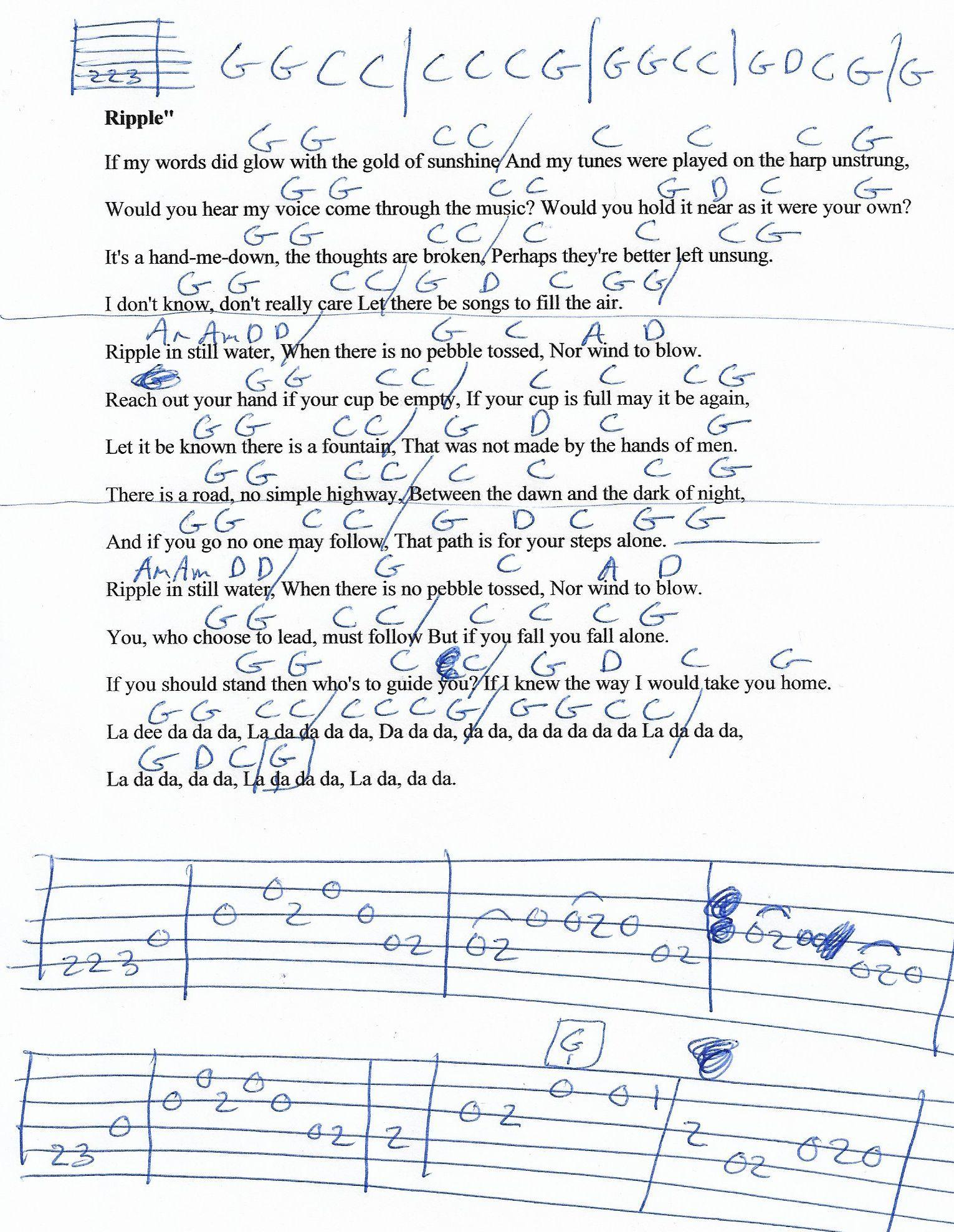 Ripple The Grateful Dead Guitar Chord Chart 2018 Guitar Lesson