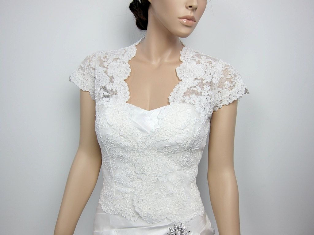 LOVE THIS.    Ivory Front open Alencon Lace bolero jacket Bridal Bolero Wedding jacket wedding bolero bridal shrug. $99.99, via Etsy.