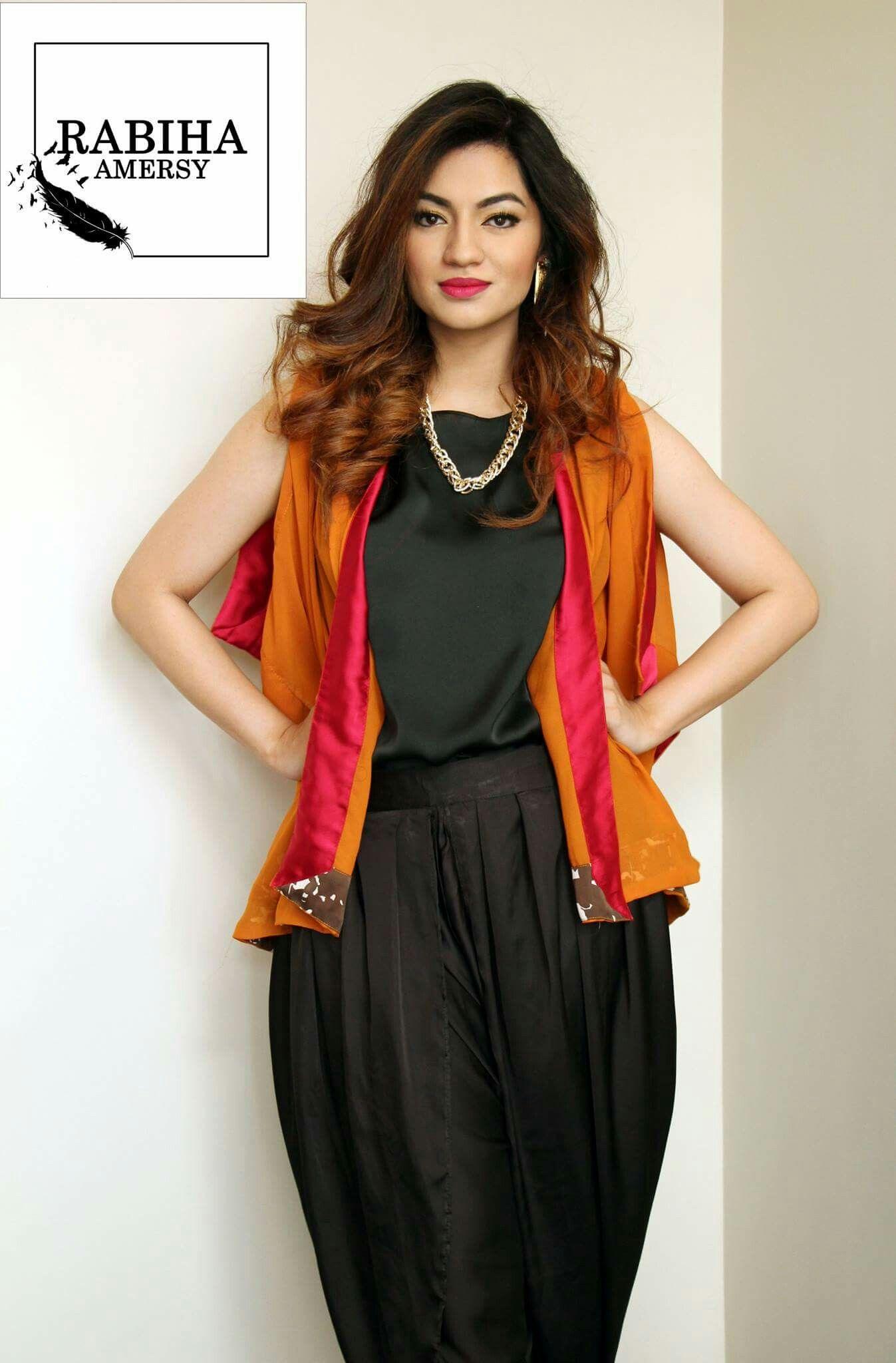 eb308d0cb711 A vibrant orange and pink Chiffon cape jacket | Rabiha Amersy | Cape ...