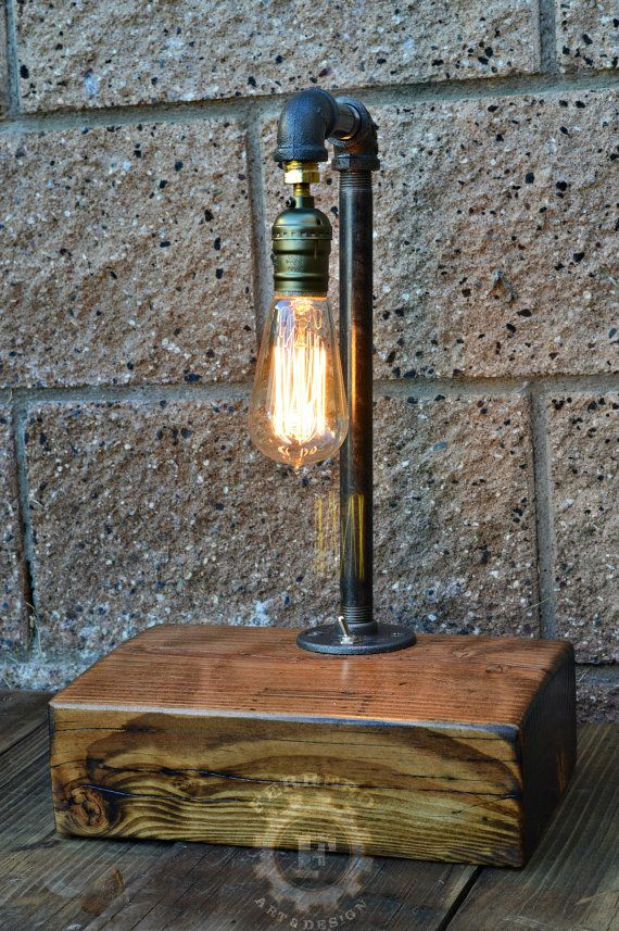 Edison Lamp Steampunk Lamp Upcycle Decor Desk Lamp Nightstand Lamp Industrial Lamp Desk Light Unique Lamp Reclaimed Wood In 2020 Steampunk Lamp Unique Lamps Edison Lamp