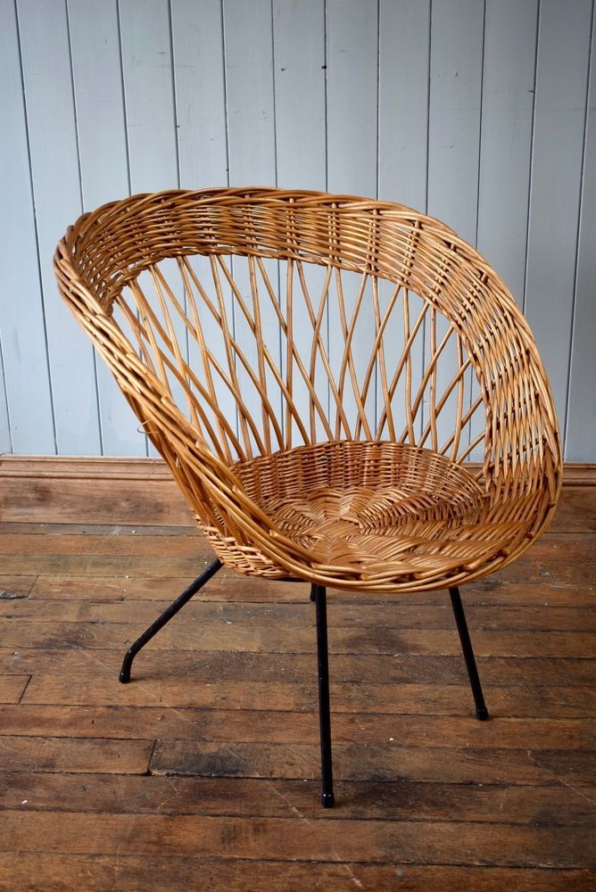 Superbe Vintage Satellite Circle Bamboo Cane Wicker Rattan Tub Chair Mid Century |  EBay