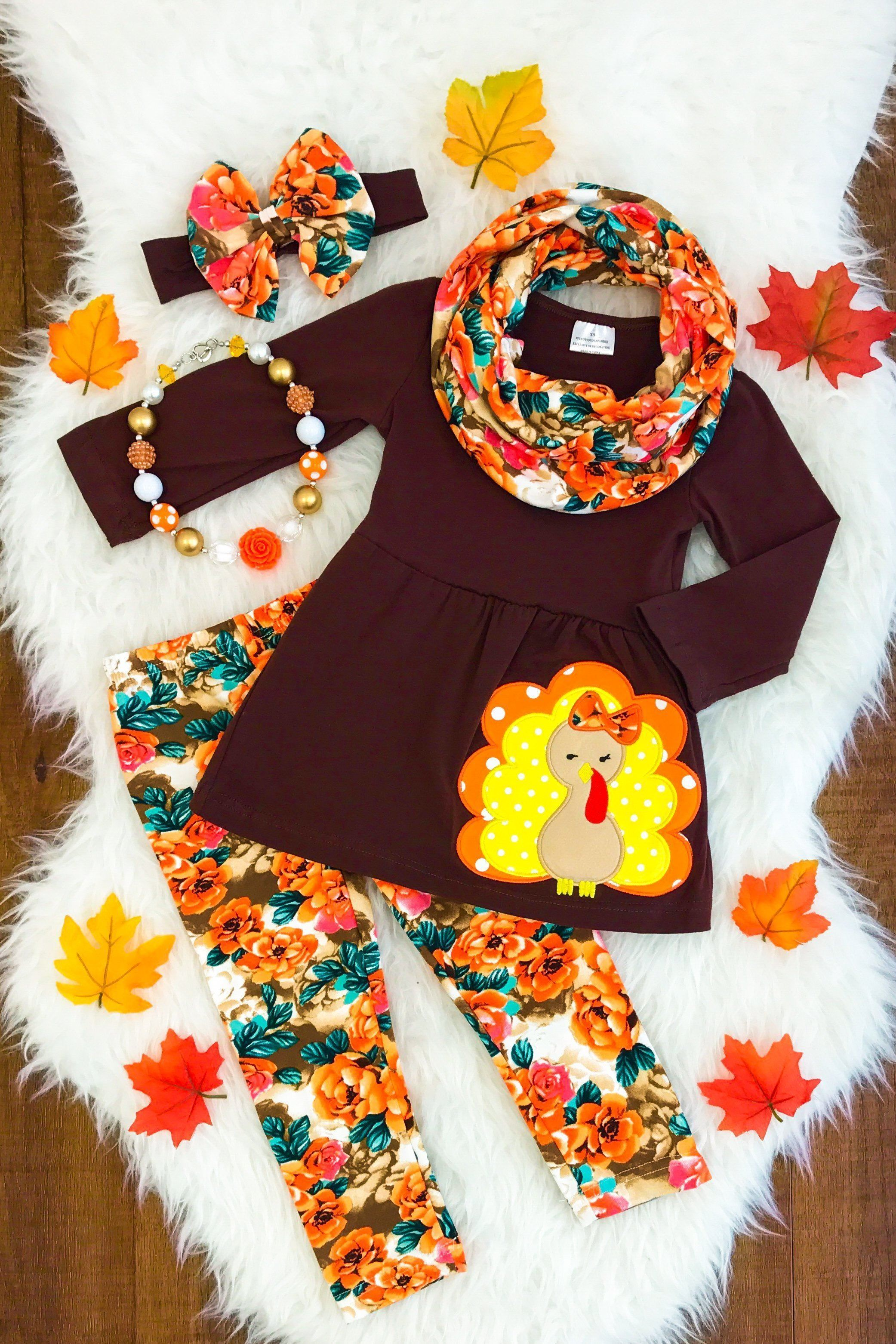 Tunic Top Leggings Scarf Set Baby Toddler Little Girls Thanksgiving Turkey Outfit