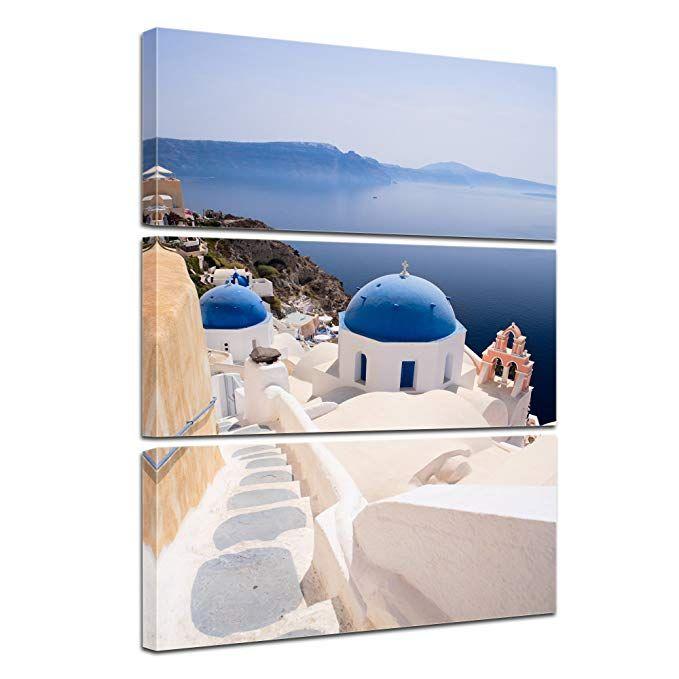 Kunstdruck - Santorini Blick - Bild auf Leinwand - 50x60 cm - wandbilder für küche