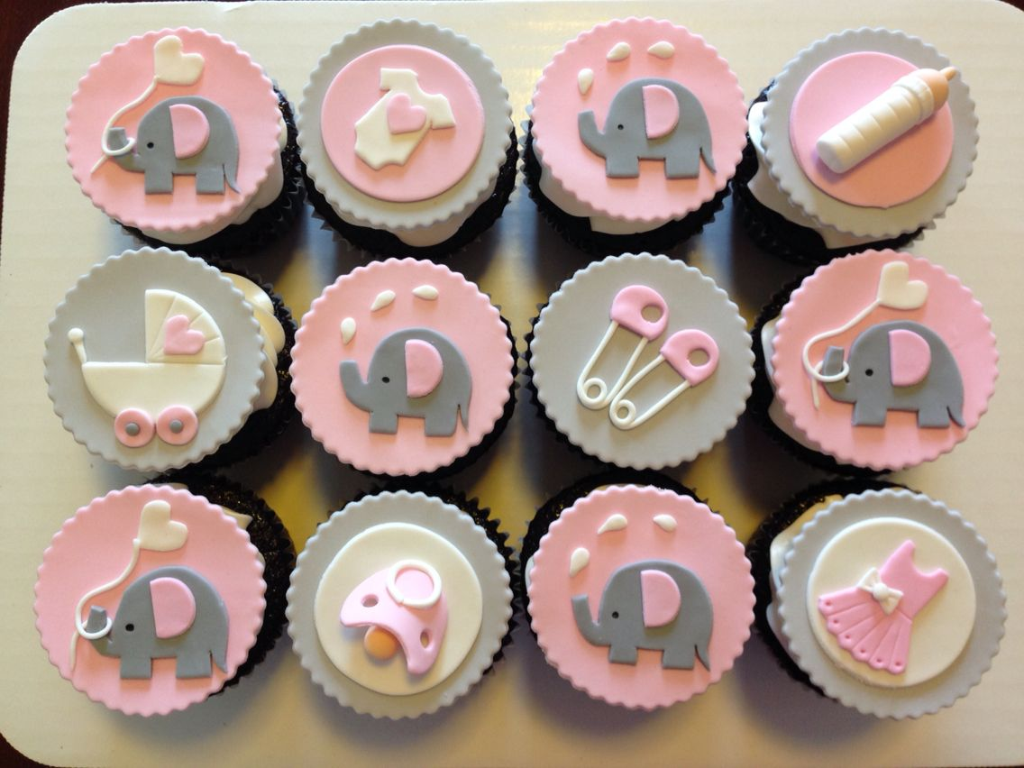 Pink Baby Shower Cupcakes : Pink and grey elephant cupcakes for baby shower. Custom ...