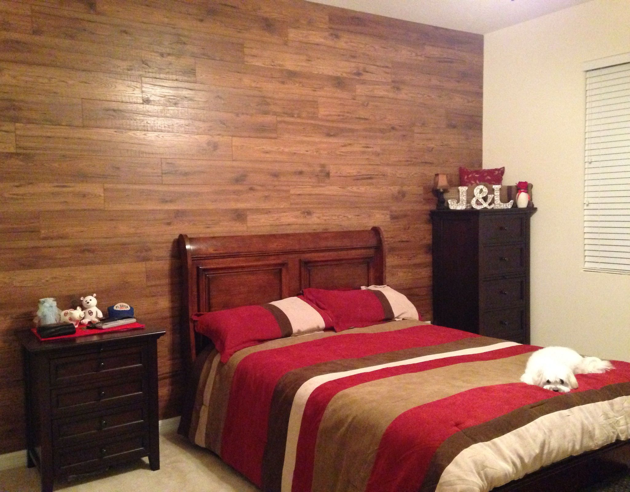 Rustic country wood wall for master bedroom. Made from ...