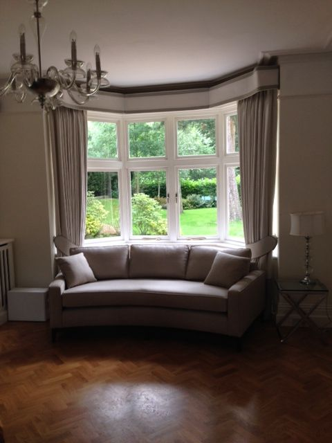 Formal room enhanced by a bespoke handcrafted curved sofa cm wide) to  exactly fit the bay window.