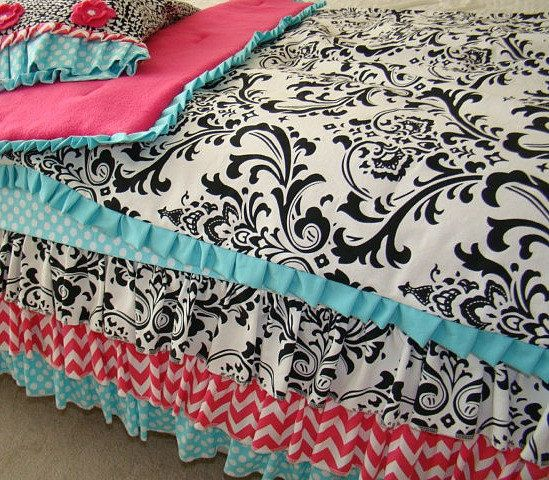 Black, Teal and Hot Pink Chevron Toddler Crib Bedding 3 ...