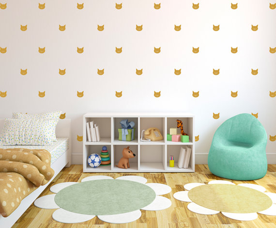 Cute Cat Face Tiny Decal Wall Pattern Animal Decor Wall Decal - Custom vinyl wall decals cats