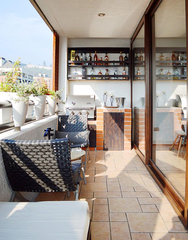 Built-in barbecue at an industrial style terrace