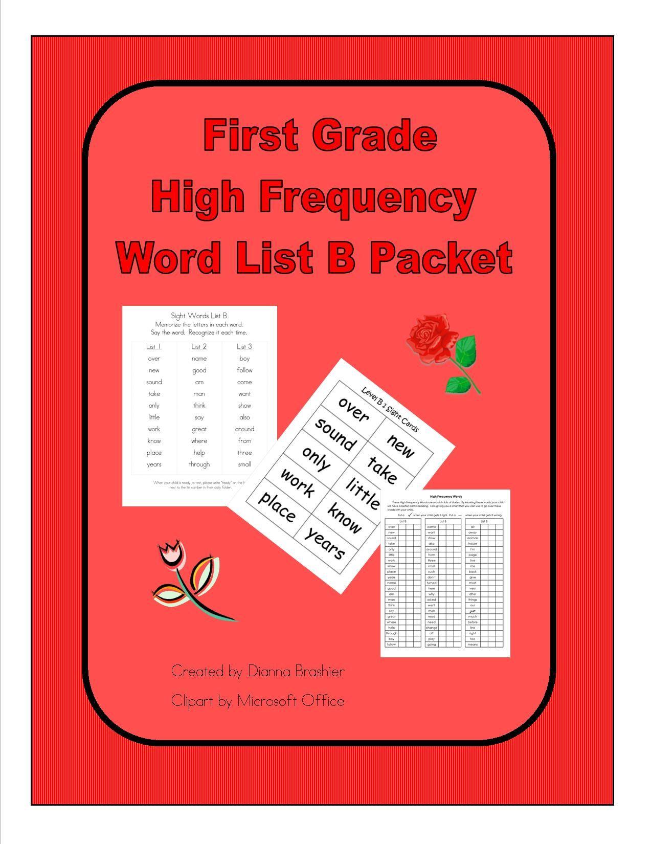 First Grade Sight Words List B Literacy First Word List Homework Packet