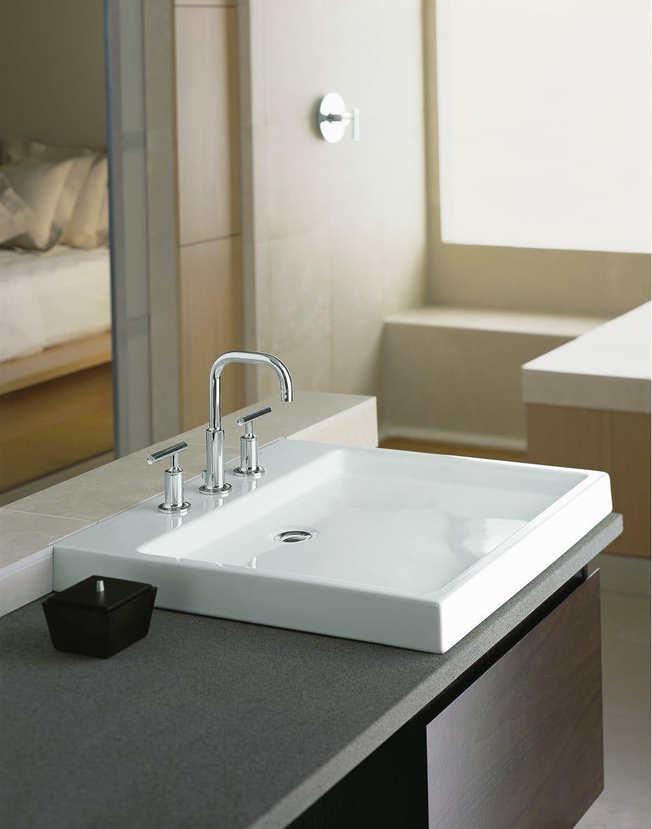 Kohler K 2314 0 White Purist 24 Fireclay Vessel Sink Less Drain Assembly Kitchenfaucetforsale Modern Bathroom Sink Large Bathroom Sink Modern Bathroom