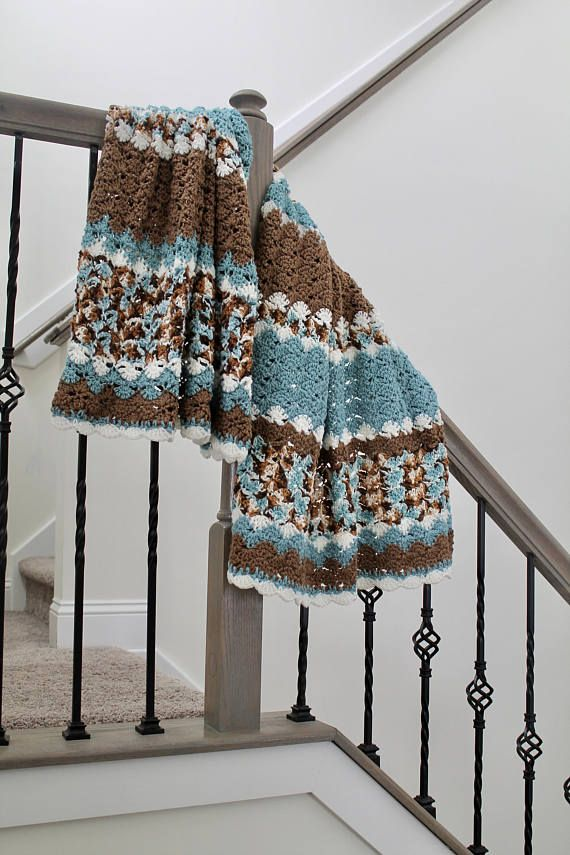 Light Teal and Brown Afghan - Shell Pattern Crochet Blanket ...