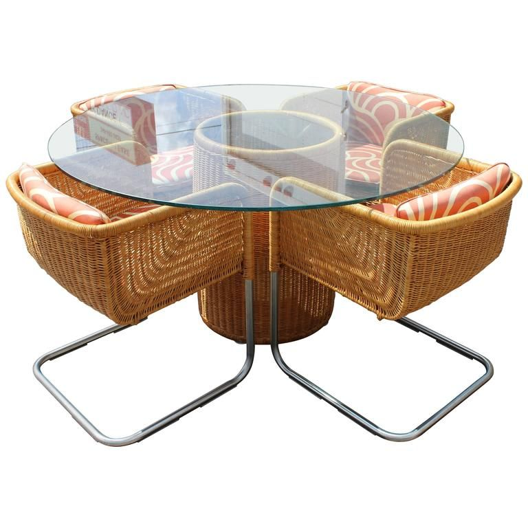 Mid-Century Modern Harvey Probber Wicker Patio Set Table and Four ...