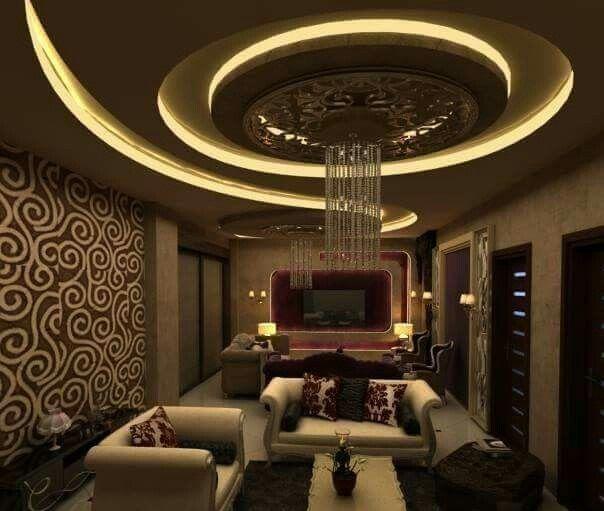 Gypsum Board False Ceiling Design Ideas With Led Hidden Lighting For Living Rooms Decoratingidea False Ceiling Design Gypsum Ceiling Design Pop Ceiling Design