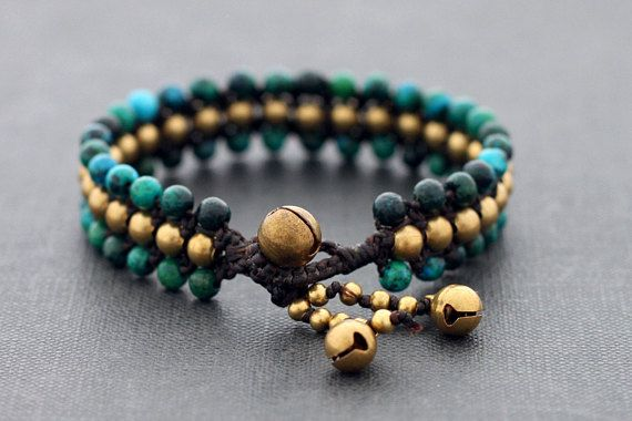 ♥100 % HAND WOVEN IN THAILAND This is hand woven bracelet made with black waxed cord weaved together with chrysocolla stone . Closure using brass bell ♥ Bracelets measures 7.5 inch long ♥ lightweight and comfortable to wear ♥ You can mix many of your favorite color for a slightly edgier