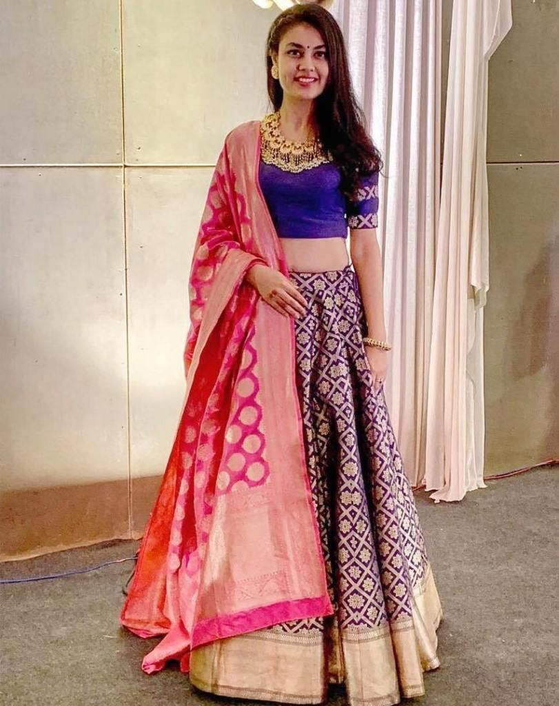 a1c22b056e Blue gold silk Banarasi wedding lehenga with contrast pink banarasi dupatta.  #Frugal2Fab